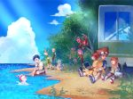 3girls 5boys agumon blonde_hair blue_eyes blue_hair brown_eyes brown_hair bus closed_mouth clouds commentary_request computer digimon digimon_adventure gabumon glasses gloves goggles goggles_on_head gomamon ground_vehicle hat huan_li ishida_yamato izumi_koushirou kido_jou laptop long_hair medium_hair motor_vehicle multiple_boys multiple_girls open_mouth palmon patamon piyomon shirt short_hair smile tachikawa_mimi tailmon takaishi_takeru takenouchi_sora tentomon water yagami_hikari yagami_taichi
