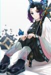 1girl animal_print bangs black_hair black_pants blue_eyes breasts bug butterfly butterfly_hair_ornament butterfly_print coat expressionless gradient_hair hair_ornament hands_on_own_knees haori hat highres insect japanese_clothes katana kimetsu_no_yaiba kochou_shinobu looking_at_viewer medium_breasts multicolored_hair nikek96 pants parted_bangs purple_hair sandals scabbard sheath sheathed sitting solo sword tokin_hat two-tone_hair uniform weapon white_background wide_sleeves