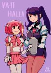 2girls absurdres android artist_request bartender bow bowtie commentary_request copyright_name cup dorothy_haze highres holding holding_cup jill_stingray multiple_girls necktie pantyhose pink_hair purple_hair skirt smile twintails va-11_hall-a