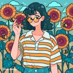 1girl artist_name bangs bee black_hair bug clouds collared_shirt expressionless eyebrows_visible_through_hair flower fresh_bobatae hand_up insect instagram_username leaf looking_at_viewer medium_hair original round_eyewear shirt shirt_tucked_in short_sleeves solo sparkle striped striped_shirt sunflower tinted_eyewear upper_body yellow_shirt