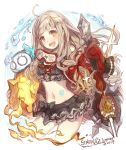 1girl 2019 :d ahoge bangs bikini bikini_skirt black_bikini black_bow blush bow brown_eyes brown_hair commentary_request copyright_name cropped_legs goggles goggles_around_neck hair_ribbon haku_(sabosoda) holding holding_weapon little_red_riding_hood_(sinoalice) long_hair navel open_mouth red_ribbon ribbon sinoalice smile solo sparkle swimsuit upper_teeth very_long_hair water weapon white_background