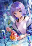 1girl :d blue_eyes blue_flower blue_jacket blurry blush bowl bra_strap commentary_request depth_of_field dessert flower food fruit fuji_choko glint highres holding holding_spoon jacket lavender_hair looking_at_viewer open_clothes open_jacket open_mouth original purple_flower shirt short_hair smile solo spoon table white_shirt
