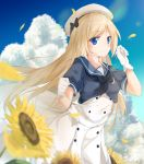 1girl absurdres bangs black_neckwear blonde_hair blue_eyes blue_sailor_collar blue_sky blush bow breasts buttons clouds day dress eyebrows_visible_through_hair flower gloves hat hat_bow highres jervis_(kantai_collection) kantai_collection long_hair looking_at_viewer mary_janes neckerchief outdoors petals sailor_collar sailor_dress sailor_hat shoes short_sleeves sky smile solo sugihiro sunflower white_dress white_gloves white_headwear