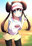 1girl =3 arms_up black_legwear blue_eyes blue_sky blurry blush bright_pupils brown_hair clenched_hands collarbone commentary_request contrapposto cowboy_shot day depth_of_field double_bun highres leaning_forward legwear_under_shorts long_hair looking_at_viewer mei_(pokemon) outdoors pantyhose pokemon pokemon_(game) pokemon_bw2 raglan_sleeves shorts sidelocks sky smile solo standing tsukimirin twintails very_long_hair visor_cap white_pupils yellow_shorts