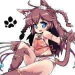 1girl :d ahoge animal_ears bell blue_eyes blush braid brown_hair cat_ears cat_tail claw_(weapon) eyebrows_visible_through_hair fang jingle_bell looking_at_viewer nemui_(nemui) open_mouth paw_print sennen_sensou_aigis simple_background smile solo tail twin_braids two_side_up ur_(sennen_sensou_aigis) weapon white_background