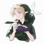 1boy blonde_hair blue_eyes commentary_request cropped_torso fairy green_headwear green_tunic hands_up holding holding_instrument instrument kmkr link looking_to_the_side navi ocarina parted_lips phrygian_cap pointy_ears short_sleeves simple_background the_legend_of_zelda the_legend_of_zelda:_ocarina_of_time triforce tunic upper_body white_background young_link