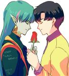 2boys bishoujo_senshi_sailor_moon black_hair chiba_mamoru closed_eyes earrings fiore_(sailor_moon) flower forehead-to-forehead green_hair green_skin jewelry long_hair male_focus multicolored_hair multiple_boys pointy_ears profile puchi_(wamsnzs) rose short_hair two-tone_hair yaoi