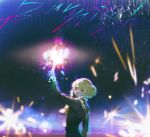 1boy biker_clothes black_jacket cravat fireworks frilled_sleeves frills gloves green_hair half_gloves jacket lio_fotia long_hair looking_at_viewer male_focus night parted_lips promare say_hana short_hair solo sparkler violet_eyes