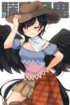 1girl arm_up bandana bangs bare_shoulders black_hair black_wings blue_shirt brown_headwear brown_skirt character_name commentary_request cowboy_hat cowboy_shot feathered_wings grin hand_on_headwear hand_on_hip hat highres kurokoma_saki long_hair looking_at_viewer off-shoulder_shirt off_shoulder one_eye_closed ougi_hina plaid puffy_short_sleeves puffy_sleeves red_eyes shirt short_sleeves simple_background skirt smile solo tail touhou translation_request very_long_hair white_background wings