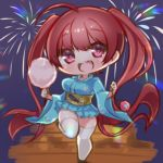 1girl aerial_fireworks ahoge alternate_costume azur_lane blue_kimono blush bouncing_breasts breasts chibi cotton_candy eyebrows_visible_through_hair fireworks floral_print food hands_up holding holding_food honolulu_(azur_lane) honolulu_(festival_date)_(azur_lane) japanese_clothes kimono kimono_skirt large_breasts leg_up long_hair looking_at_viewer night night_sky obi open_mouth pleated_skirt red_eyes redhead round_teeth sash seele0907 shiny shiny_hair skirt sky smile solo standing standing_on_one_leg teeth thigh-highs thighs tongue twintails very_long_hair white_legwear wide_sleeves wooden_floor yukata