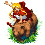 1girl bear blonde_hair blue_eyes dress grass hood hood_down open_mouth original outdoors pixel_art pixelflag red_dress red_footwear red_hood riding_bear socks white_background white_legwear