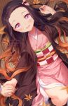 1girl :d artist_name autumn_leaves black_hair blush brown_hair gradient_hair hair_ribbon holding_hands japanese_clothes kamado_nezuko kimetsu_no_yaiba kimono long_hair looking_at_viewer lying multicolored_hair on_back open_mouth pink_eyes pink_kimono pink_ribbon pixiv_username ribbon rimuu smile twitter_username very_long_hair