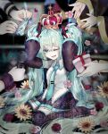2boys 4girls absurdly_long_hair aqua_eyes aqua_hair aqua_nails aqua_neckwear asymmetrical_sleeves bare_shoulders black_legwear black_skirt blue_nails box cherry_blossoms coat commentary crown detached_sleeves flower gift gift_box giving hair_ornament hand_on_own_head happy_birthday hatsune_miku heart highres holding holding_microphone holding_panties kagamine_len kagamine_rin kaito lens_flare long_hair looking_up megurine_luka meiko microphone mobumobu0817 multiple_boys multiple_girls nail_polish necktie one_eye_closed open_mouth panties petals red_nails ribbon rose shirt sitting skirt sleeveless sleeveless_shirt smile striped striped_panties sunflower thigh-highs twintails underwear very_long_hair vocaloid wariza wrist_cuffs yellow_nails zettai_ryouiki
