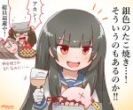 black_hair brown_hair brush bucket commentary_request dated floating_fortress_(kantai_collection) flying_sweatdrops food gloves hachimaki hair_ribbon headband isokaze_(kantai_collection) japanese_clothes kantai_collection kariginu light_brown_hair long_hair magatama miccheru open_mouth red_eyes ribbon ryuujou_(kantai_collection) school_uniform serafuku shinkaisei-kan smile sweatdrop takoyaki topless translation_request tray tress_ribbon twintails twitter_username visor_cap white_gloves zuihou_(kantai_collection)
