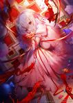 1girl apple_caramel bangs blood blood_from_mouth blurry blurry_background bouquet bow breasts candy_wrapper closed_mouth commentary depth_of_field dress dutch_angle english_commentary eyebrows_visible_through_hair fate/stay_night fate_(series) flower hair_between_eyes hair_bow heaven's_feel highres knees_up long_hair looking_at_viewer looking_to_the_side matou_sakura medium_breasts picture_frame pink_footwear puffy_short_sleeves puffy_sleeves red_bow red_eyes red_flower red_ribbon ribbon shoes short_sleeves silver_hair sitting smile solo white_dress