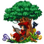 1girl barefoot black_hair chair grass hat long_hair mushroom original outdoors pixel_art pixelflag reading red_headwear red_robe robe rocking_chair sitting tree wizard_hat