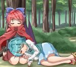 2girls :o against_tree arms_at_sides black_shirt blue_hair blue_skirt blue_vest blush bow bush cape day eyebrows_visible_through_hair forest geta hair_bow juliet_sleeves lap_pillow legs_together long_sleeves lying lying_on_person multiple_girls nature on_ground on_side outdoors puffy_sleeves red_cape red_skirt redhead seiza sekibanki shiny shiny_hair shirt short_hair sitting skirt sleeping sugiyama_ichirou tatara_kogasa touhou tree under_tree vest white_shirt