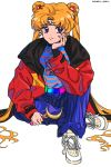 1girl 80s alternate_costume artist_name bishoujo_senshi_sailor_moon blonde_hair blue_eyes casual chanran chin_rest crescent crescent_earrings earrings headband highres jewelry long_hair looking_at_viewer moon_stick oldschool sailor_moon sitting solo tsukino_usagi twitter_username very_long_hair white_background