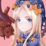 1girl abigail_williams_(fate/grand_order) artist_name artist_request bangs black_bow black_headwear blonde_hair blue_eyes bow commentary dress eyebrows_visible_through_hair face fate/grand_order fate_(series) hat highres long_hair looking_at_viewer multiple_bows orange_bow parted_bangs polka_dot polka_dot_bow solo stuffed_animal stuffed_toy teddy_bear tentacles