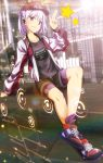 1girl baseball_cap bike_shorts bike_shorts_under_shorts cityscape contemporary earpiece fate/grand_order fate_(series) hat highres holographic_interface jewelry kama_(fate/grand_order) pendant red_eyes shoes shorts silver_hair smile sneakers star tom_(drpow)