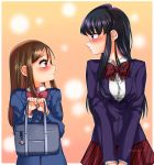 2girls absurdres bag black_hair blush breasts brown_hair candy_rimo crossover height_difference highres hitori_bocchi hitoribocchi_no_marumaru_seikatsu komi-san_wa_komyushou_desu komi_shouko large_breasts long_hair looking_at_another multiple_girls nose_blush ponytail ribbon school_uniform shy side_ponytail skirt small_breasts trait_connection uniform