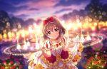 blush brown_eyes brown_hair dress gown idolmaster_cinderella_girls_starlight_stage kita_hinako short_hair sky smile