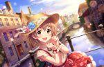 blush brown_eyes brown_hair dress hat idolmaster_cinderella_girls_starlight_stage kita_hinako short_hair smile