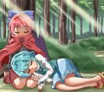 2girls :o against_tree arms_at_sides black_shirt blue_hair blue_skirt blue_vest blush bow bush cape commentary_request day eyebrows_visible_through_hair forest geta hair_bow juliet_sleeves lap_pillow legs_together light_rays long_sleeves lying lying_on_person multiple_girls nature on_ground on_side outdoors puffy_sleeves red_cape red_skirt redhead seiza sekibanki shade shiny shiny_hair shirt short_hair sitting skirt sleeping sugiyama_ichirou sunbeam sunlight tatara_kogasa touhou tree under_tree vest white_shirt