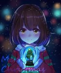 androgynous blue_footwear blue_jacket blurry blurry_background blush brown_hair christmas_tree eyebrows_visible_through_hair frisk_(undertale) fur_trim heart highres holding jacket lamp long_sleeves looking_at_viewer medium_hair merry_christmas passerby_b red_sweater sans shirt shoes shorts skull smile snow star striped striped_sweater sweater undertale