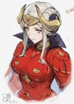 1girl armor blonde_hair blue_eyes breasts cape crown edelgard_von_hresvelg fire_emblem fire_emblem:_three_houses gloves hair_bun hair_ornament haoni highres horns long_hair looking_at_viewer simple_background solo white_background