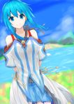 1girl absurdres blue_hair blue_skirt blurry blurry_background blush breasts collarbone commentary_request day eyebrows_visible_through_hair hair_between_eyes highres homura0620alicia long_hair looking_at_viewer medium_breasts original outdoors ribbon skirt smile solo water yellow_ribbon