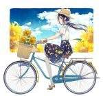 1girl bare_shoulders bicycle bicycle_basket black_hair blue_eyes blue_sky blush brown_headwear closed_mouth clouds cloudy_sky commentary_request day flower goma_(11zihisin) ground_vehicle hair_ornament hair_scrunchie hat highres lemon_print long_hair low_twintails off-shoulder_shirt off_shoulder orange_flower original pleated_skirt print_skirt profile scrunchie shirt shoes short_sleeves signature sitting skirt sky smile solo straw_hat sunflower twintails white_background white_scrunchie white_shirt yellow_flower yellow_footwear