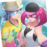 1boy 1girl alternate_costume apple_brk earrings gen_7_pokemon hat jewelry kojirou_(pokemon) long_hair mareanie meowth mimikyu musashi_(pokemon) outline pokemon pokemon_(creature) ponytail redhead self_shot shirt sunglasses water wobbuffet