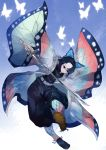 1girl animal_print bangs belt black_pants blue_background blue_eyes blue_hair bug butterfly butterfly_hair_ornament butterfly_print coat floating full_body gradient_hair hair_ornament haori highres ikurauni insect japanese_clothes katana kimetsu_no_yaiba kochou_shinobu long_sleeves multicolored_hair pants parted_bangs purple_hair sandals short_hair simple_background solo sword two-tone_hair uniform weapon white_background wide_sleeves