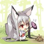 1girl :d absurdly_long_hair animal_ear_fluff animal_ears bangs barefoot blush chibi commentary_request day eyebrows_visible_through_hair food fox_ears fox_girl fox_tail full_body hair_between_eyes holding holding_stick japanese_clothes kimono long_hair long_sleeves looking_away obi open_mouth original outdoors patches ponytail red_eyes sash shadow sidelocks silver_hair smile solo stick sweet_potato tail tree very_long_hair white_background white_kimono wide_sleeves yakiimo yuuji_(yukimimi)