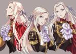 1girl blonde_hair blue_eyes cape cravat edelgard_von_hresvelg fire_emblem fire_emblem:_fuukasetsugetsu fire_emblem:_three_houses garreg_mach_monastery_uniform gloves hair_ornament hair_ribbon intelligent_systems koei_tecmo long_hair looking_at_viewer misica multiple_persona nintendo pantyhose red_cape ribbon simple_background smile solo uniform