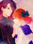 amr bishoujo_senshi_sailor_moon blue_eyes bow brown_hair closed_eyes couple earrings hetero jewelry long_hair nephrite_(sailor_moon) oosaka_naru orange_hair school_uniform serafuku short_hair