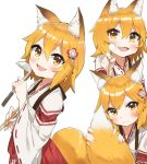 1girl :d animal_ear_fluff animal_ears applepie_(12711019) blush chopsticks closed_mouth commentary_request eyebrows_visible_through_hair fang fox_ears fox_tail hair_between_eyes hakama head_tilt highres holding holding_chopsticks holding_ladle holding_tail japanese_clothes ladle long_sleeves looking_at_viewer mimikaki multiple_views open_mouth red_hakama ribbon-trimmed_sleeves ribbon_trim senko_(sewayaki_kitsune_no_senko-san) sewayaki_kitsune_no_senko-san simple_background skin_fang smile tail wavy_mouth white_background yellow_eyes