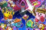2boys angry beanie channel_ppp green_headwear hat headphones helmet jitome kirby kirby_(series) magolor multiple_boys nightmare nightmare_(kirby) no_humans notepad potion staff super_kirby_clash sword video_camera waddle_dee waving_arm weapon