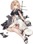 1girl blonde_hair blue_eyes blue_sailor_collar dress gloves hat hat_removed headwear_removed janus_(kantai_collection) kantai_collection konishi_(koconatu) machinery official_art open_mouth sailor_collar sailor_dress sailor_hat short_hair short_sleeves smile socks solo transparent_background turret white_dress white_gloves white_headwear white_legwear