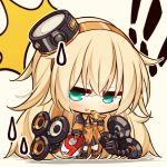 ! 1girl 7:08 bang black_legwear blonde_hair chibi commentary_request eating eyebrows_visible_through_hair finger_gun food food_in_mouth food_on_face girls_frontline green_eyes hair_between_eyes hairband highres jacket long_hair looking_at_viewer messy_hair miniskirt necktie orange_jacket pizza pizza_box s.a.t.8_(girls_frontline) skirt sweatdrop wing_collar