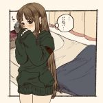 1girl arc_the_lad_ii bed blush brown_eyes brown_hair cactus commentary_request lieza long_hair looking_at_viewer marusa_(marugorikun) no_pants open_mouth solo very_long_hair