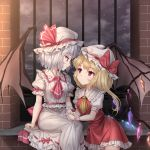 2girls arm_support ascot bangs bat_wings blush breasts brick center_frills clouds commentary crystal dress eye_contact eyebrows_visible_through_hair feet_out_of_frame flandre_scarlet frilled_shirt_collar frills hat hat_ribbon highres holding_hands long_hair looking_at_another miniskirt minust mob_cap multiple_girls night night_sky one_side_up outdoors petticoat profile puffy_short_sleeves puffy_sleeves red_eyes red_neckwear red_ribbon red_skirt red_vest remilia_scarlet ribbon short_hair short_sleeves siblings silver_hair sisters sitting skirt skirt_set sky slit_pupils small_breasts smile star_(sky) starry_sky touhou vest white_dress white_headwear wings wrist_cuffs yellow_neckwear