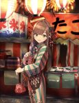 1girl bangs blue_eyes blue_kimono blurry blurry_background blush bow brown_hair commentary epi_zero fan feet_out_of_frame fireworks floral_print food from_side hair_between_eyes hair_bow hair_ornament highres holding holding_fan japanese_clothes kimono kinchaku kooribata lantern light_blue_nails long_hair long_sleeves looking_at_viewer nail_polish night nijisanji open_mouth outdoors paper_fan paper_lantern pink_nails pouch smile solo stall striped striped_kimono summer_festival suzuhara_lulu takoyaki uchiwa vertical-striped_kimono vertical_stripes virtual_youtuber wide_sleeves yukata