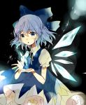 1girl :o bangs black_background black_neckwear black_ribbon blue_bow blue_dress blue_eyes blue_hair blush bow cirno commentary_request cowboy_shot dress eyebrows_visible_through_hair hair_between_eyes hair_bow highres ice ice_wings lens_flare looking_at_viewer neck_ribbon parted_lips pinafore_dress puffy_short_sleeves puffy_sleeves ribbon satoupote short_hair short_sleeves solo touhou wings