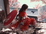 1girl bird brown_hair cherry_blossoms flower hair_flower hair_ornament highres japanese_clothes kimono long_hair obi original pupil_g red_kimono sash solo umbrella yukata