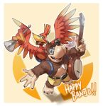 1boy 1girl backpack bag banjo banjo-kazooie banjo_(banjo-kazooie) bear bird blue_eyes brown_hair fatal_fury feathers green_eyes hat highres instrument kazooie_(banjo-kazooie) looking_at_viewer nin_nakajima open_mouth puzzle_piece shorts simple_background smile super_smash_bros. terry_bogard the_king_of_fighters wings
