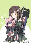 2girls anger_vein animal_ears blue_eyes brown_eyes brown_hair cat_ears chibi commentary_request face_mask girls_frontline gun_case hug hug_from_behind korean_commentary korean_text m4a1_(girls_frontline) mask mod3_(girls_frontline) multiple_girls pink_hair st_ar-15_(girls_frontline) tsuka