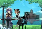 2girls :d alternate_hair_length alternate_hairstyle bangs bat_wings blunt_bangs book capelet chair crescent crescent_moon_pin dress dress_shirt eyebrows_visible_through_hair flower futatsuki_eru grass hair_ribbon hat head_wings holding holding_book koakuma lake long_hair long_sleeves low_wings mob_cap mountain multiple_girls necktie open_book open_mouth outdoors patchouli_knowledge purple_dress purple_hair red_eyes red_neckwear redhead reflection ribbon scarlet_devil_mansion shirt short_hair sidelocks sitting skirt skirt_set sky smile table touhou tree tress_ribbon vest violet_eyes white_shirt wings