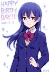 1girl bangs birthday blazer blue_hair bow bowtie commentary_request eyebrows_visible_through_hair hair_between_eyes happy_birthday jacket kamekoya_sato long_hair long_sleeves looking_at_viewer love_live! love_live!_school_idol_project otonokizaka_school_uniform red_neckwear school_uniform simple_background smile solo sonoda_umi striped striped_neckwear white_background yellow_eyes